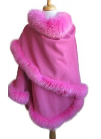 Cashmere & Wool w / Fox Fur Wrap Shawl Cape Pink Women's