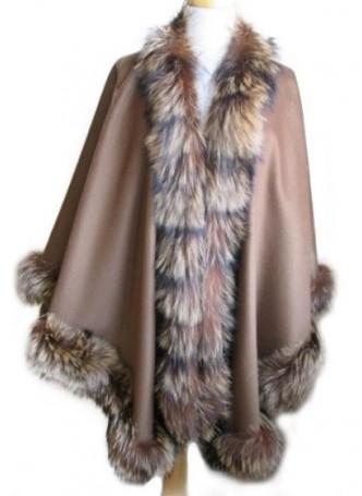 Cashmere 100%  w/  Crystal Fox Fur Wrap Cape Shawl Tan Women's