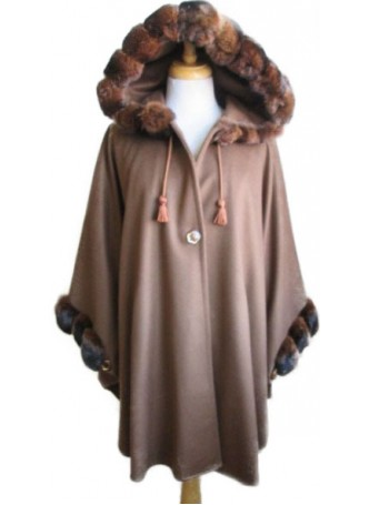 Cashmere, Wool w/ Chinchilla Fur Wrap Cape Poncho w/ Hood & Sleeves Coffee Women's