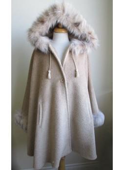 Alpaca Wool w/ Lynx Fur Wrap Cape Poncho  w/ Hood & Sleeves Beige Women's