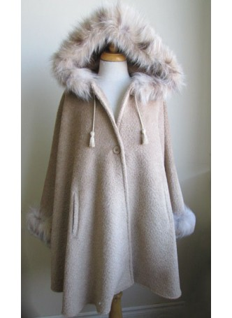 Alpaca Wool w/ Lynx Fur Wrap Cape Poncho  w/ Hood & Sleeves Beige Women's