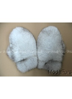 Fox Fur Norwegian Blue Mittens Gloves Men Women UNISEX