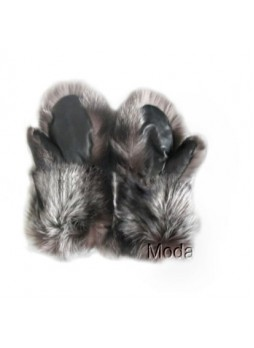 Silver Fox Fur Mittens with Black Leather Women Men Unisex