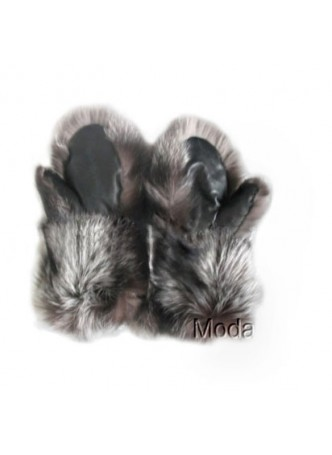 Fox Fur Silver Mittens with Black Leather Women Men Unisex