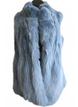Fox Fur Vest Baby Blue Women's