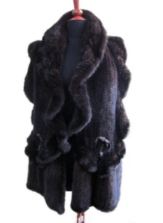 Knitted Mink Fur Dark Ranch Shawl Cape Stole Wrap Scarf Women's