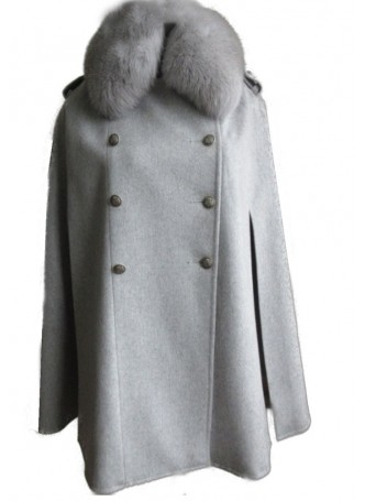 Wool 100%, Gray Cape Poncho with Gray Fox Fur Collar Women