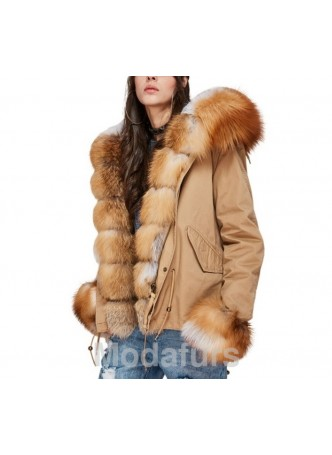 Winter Jacket with Hood & Red Fox Fur Trims Women's