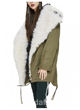 Military Style  Army Green Winter Coat Parka with White Curly Lamb Fur Women's