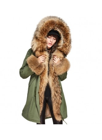 Military Style Army Green Winter Coat Jacket Parka with Hood Finn Raccoon & Rabbit Fur Lining Women's