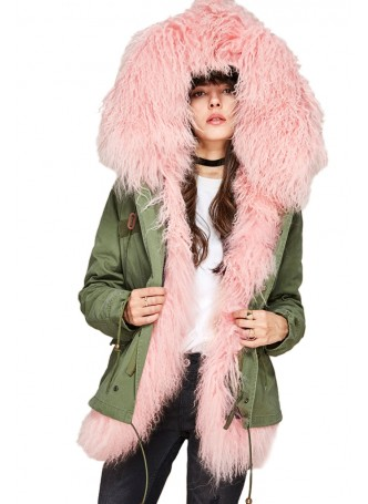 Military Style Army Green Winter Coat with Hood and Pink Mongolian Lamb Fur Women's