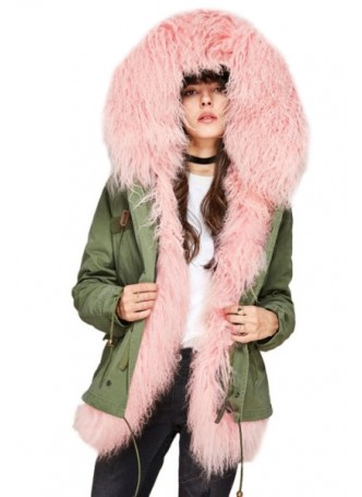 Military Style Army Green Winter Coat Parka with Hood and Pink Mongolian Lamb Fur Women's