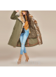 Military Style Army Green Winter Coat with Natural Red Fox Fur Collar Women's