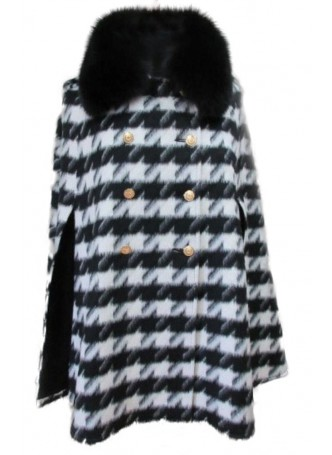 Wool  100%, Black White Cape Poncho with Black Fox Fur Collar Women