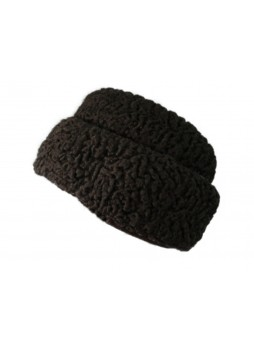 Persian Lamb Fur Hat Russian Style with Ear Flaps  Brown Men's