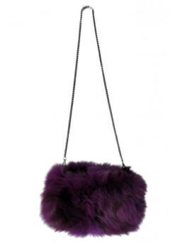 Fox Fur Bag Purse Shoulder Bag Cross-Body Hand Muff Warmer Women's Purple