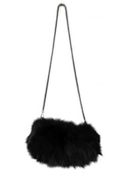 Fox Fur Black Purse Shoulder Bag Cross-Body Hand Muff Warmer Women's