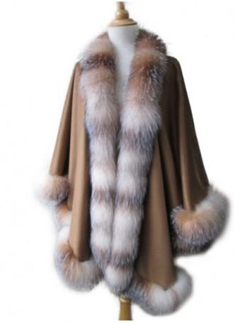 Cashmere 100% w/ Crystal Fox Fur Wrap Cape Shawl Caramel Women's