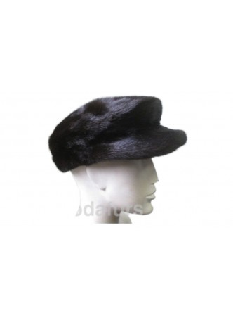 "Mink Fur Hat Natural Dark Ranch Black News Boy Cap Size 24"" Man Men's"