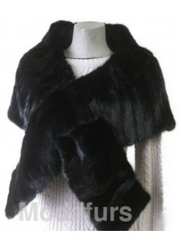 Mink Fur Cape Stole Wrap Scarf Shawl Natural Dark Ranch Black Wedding Women's
