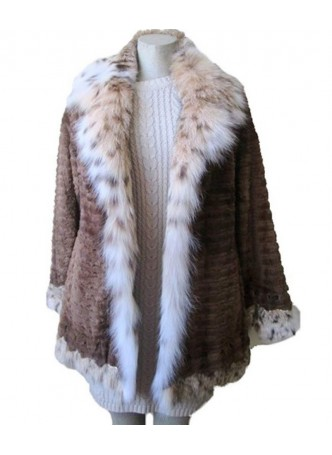 Mink Sheared Fur Coat Jacket with LYNX Fur Women's