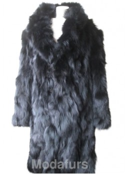Men's Black Fox Fur Coat with Detachable Hood XXL for Man