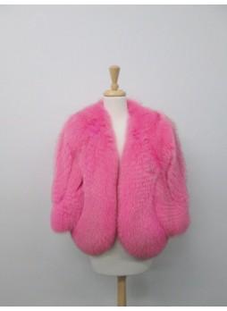 Fox Fur Bolero Jacket Cape Wrap Coat Pink Women's