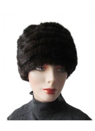 Knitted Mink Fur Brown Hat Women's
