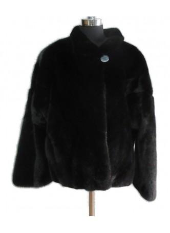 Mink Fur Black Jacket Coat Women's Size Small Female
