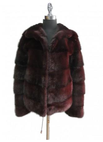 Mink Fur Burgundy Coat Jacket Women's