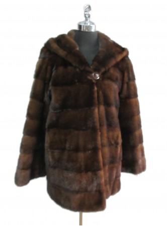 Mink Fur Coat Jacket Stroller with Hood Natural Mahogany Women's Size 8