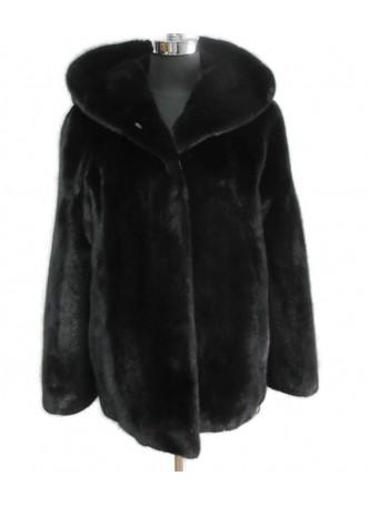 Mink Fur Black Jacket Coat  with HOOD Women's Size L