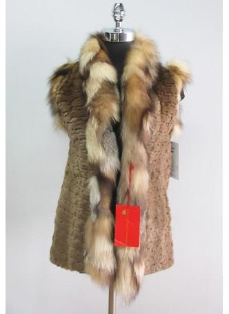 Mink Sheared Pastel Fur Vest w/ Crystal Fox Women's
