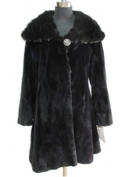 Beaver Sheared Fur Coat Jacket Stroller Women's Black