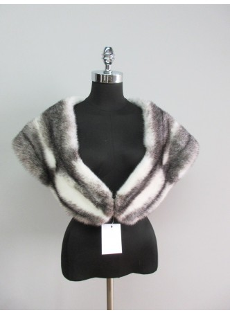 Mink Fur Cape Stole Wrap Scarf Shawl Black Cross Wedding , Bride, Bridesmaid Women's