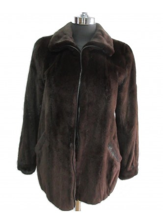 Mink Sheared Fur Bomber Jacket Coat Women's Natural Dark Ranch
