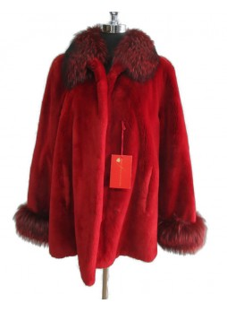 Beaver Sheared & Fox Fur Coat Jacket Cranberry Red Women's