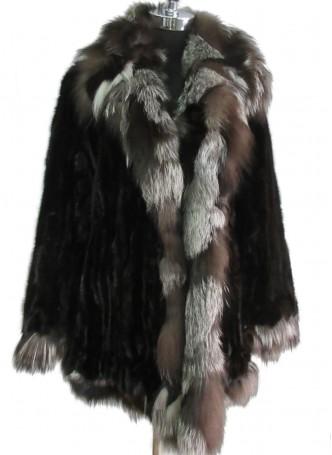 Mink Fur Black Jacket Coat Silver Fox Fur Collar and Trims Women's Sz M