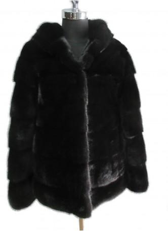 Mink Fur Jacket Coat Black   with HOOD Women's Size Small