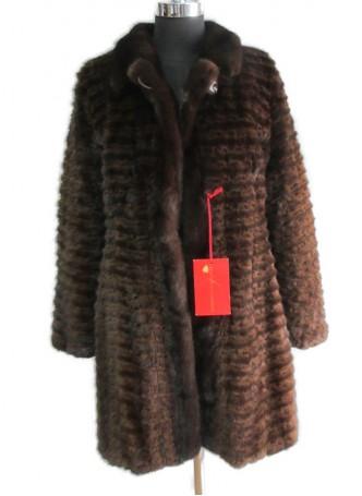 Mink Fur Coat Jacket Stroller Mahogany Women's Size 8