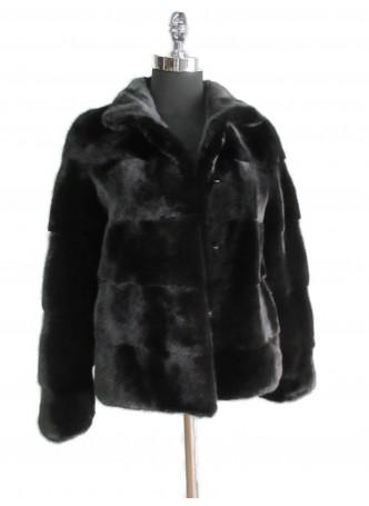 Mink Fur Black Jacket Coat Women's Size Small