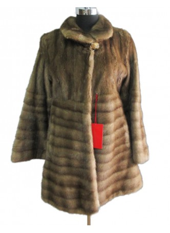 Mink Fur Natural Dark Pastel Jacket Coat  Women's  Sz 8