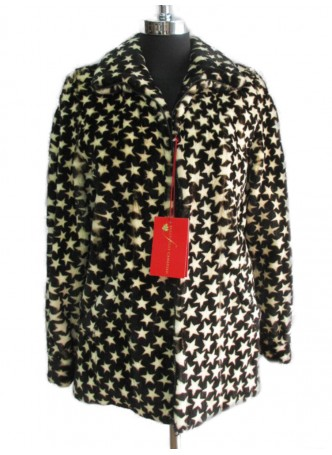 Mink Fur Sheared Star Printed Coat Jacket Women's Sz 10