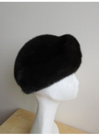 Mink Fur Hat Women's Natural Black