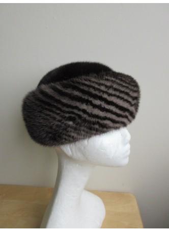 Mink Fur Hat Women's Natural Dark Ranch Black and Dark Gray