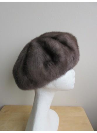 Mink Fur Hat Beret Women's Natural Dark Gray Blue Iris