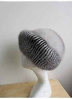 Mink Fur Hat Women's Natural Sapphire and Black