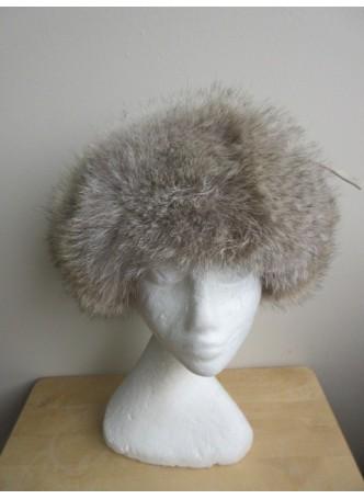 Coyote Fur Hat  w/  Suede Aviator Ushanka Trooper Beige Women's Men's UNISEX