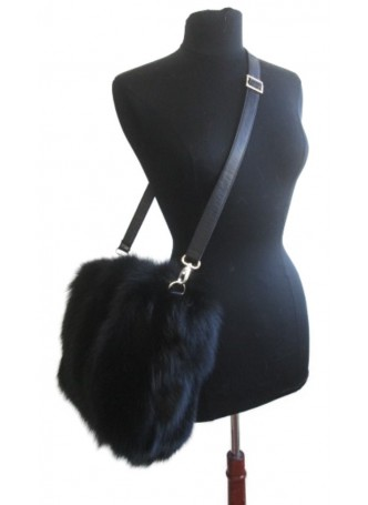 Fox Fur Black Purse Shoulder Bag Cross-Body with Leather Men Women UNISEX