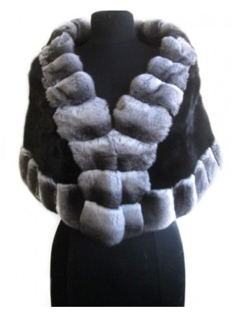 Chinchilla & Black Mink Fur Cape Shawl Stole Wrap Wedding Women's